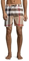 Burberry Gowers Check Swim Trunks, Camel