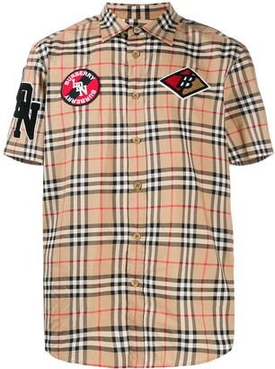 Burberry Vintage check patch short-sleeve shirt