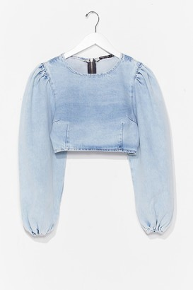 Nasty Gal Womens Wash Me Go Cropped Denim Top - Washed Blue