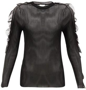 Noir Kei Ninomiya Ruffled Ribbed-jersey Top - Black