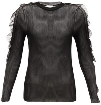 Noir Kei Ninomiya Ruffled Ribbed-jersey Top - Womens - Black
