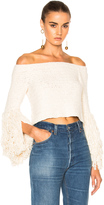 Rosetta Getty Crocheted Fringe Off the Shoulder Top