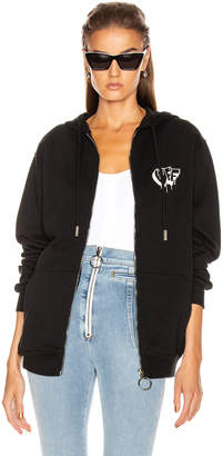 Off-White Off White Markers Zipped Hoodie in Black & White | FWRD