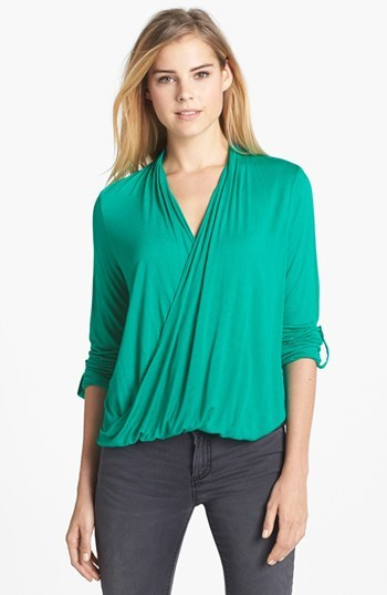 Vince Camuto Two by Roll Tab Sleeve Wrap Front High/Low Top