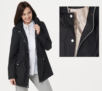 Dennis Basso Water Resistant Zip-Front Jacket with Removable Hood