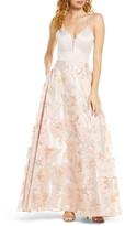 Sequin Hearts Metallic Floral Burnout Lace-Up Back Ballgown