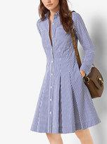 Michael Kors Striped Cotton-Poplin Shirtdress