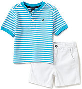 Nautica Baby Boys 12-24 Months Striped Short-Sleeve Henley Tee & Solid Shorts Set