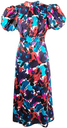 Rotate by Birger Christensen Abstract Print Open Back Dress