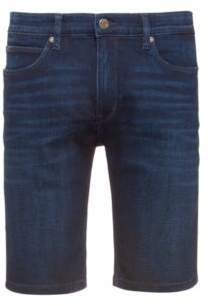 Slim-fit shorts in dark blue stretch denim