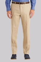 Moss Bros Tailored Fit Stone Linen Pants