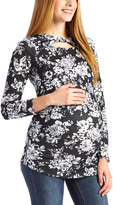 Glam Black & White Floral Twist-Cutout Maternity Long-Sleeve Top