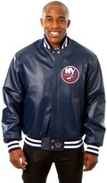 JH Design New York Islanders Men's Leather Team Jacket with Hand Crafted Leather Team Logos