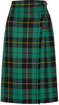 Gucci Pleated Tartan Wool Skirt - Jade