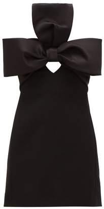 Saint Laurent Bow-trim Satin And Crepe Mini Dress - Womens - Black
