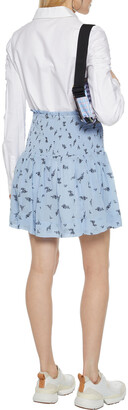 Ganni Shirred Floral-print Georgette Mini Skirt