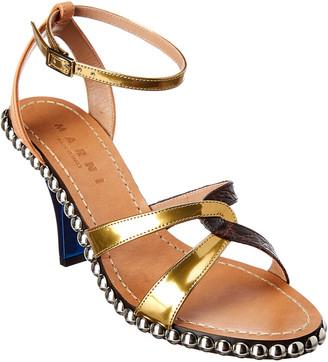 Marni Criss-Cross Studded Leather Sandal