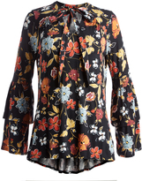 August Silk Floral Spice Tier-Cuff Hi-Low Top