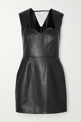 Versace Paneled Leather Mini Dress - Black