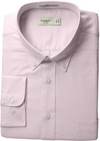 Haggar Men's Pinpoint Oxford Solid Long Sleeve Regular Fit Buttondown Collar Dress Shirt