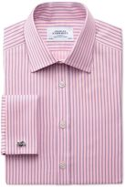 Charles Tyrwhitt Classic Fit Egyptian Cotton Textured Stripe Pink Dress Casual Shirt French Cuff Size 16/38