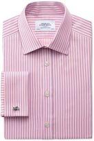 Charles Tyrwhitt Classic Fit Egyptian Cotton Textured Stripe Pink Dress Shirt Size 16/38