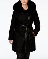 Via Spiga Plus Size Faux-Fur-Collar Mixed-Media Coat, Only at Macy's