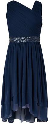 Monsoon Abigail One Shoulder Prom Dress - Navy