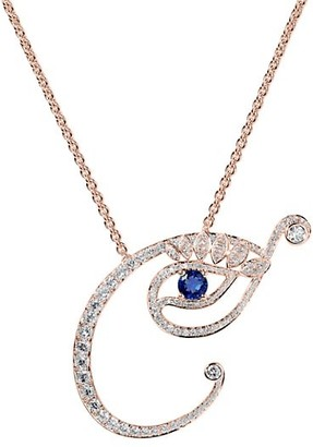 Tabayer Eye 18K Rose Gold, Diamond & Sapphire Creative Pendant Necklace