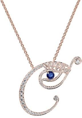 Tabayer Eye 18K Rose Gold, Diamond Sapphire Creative Pendant Necklace