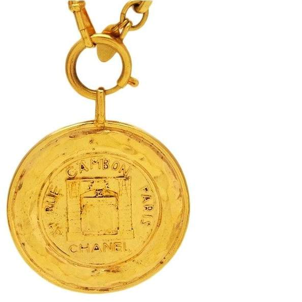 Chanel Gold Tone Metal 31 Rue Cambon Paris Medallion Necklace