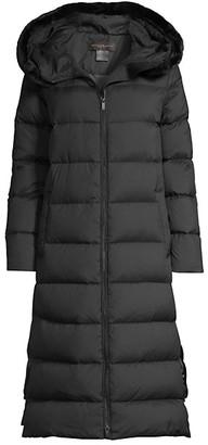 Donna Karan Longline Faux Fur-Trim Puffer Coat
