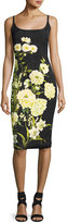 Theia Sleeveless Floral Cocktail Dress, Black