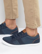 Pull&bear Plimsoll Trainers In Navy