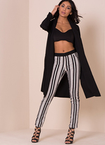 Missy Empire Hallie Black And White Striped Trousers