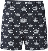 Dolce & Gabbana crown print swim shorts - men - Cotton - 4