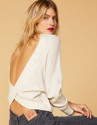West Of Melrose Options Open Back Oatmeal Womens Thermal Top