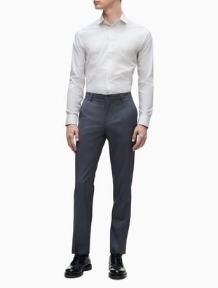Calvin Klein Slim Fit Grey Vertical Stripe Performance Non-Iron Dress Shirt