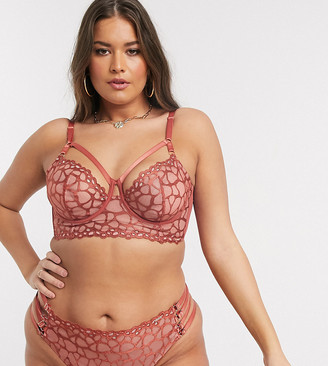 Figleaves Curve Desert Rose embroidered mesh non padded bra with strapping in orange