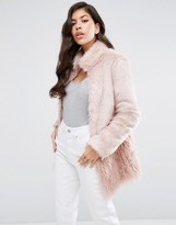 Lipsy Paneled Pink Fur Coat
