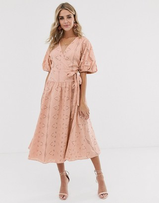 ASOS DESIGN wrap midi dress with puff sleeves in broderie