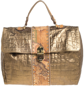 Alviero Martini Metallic Gold Croc Embossed Leather and Coated Canvas Geo Print Top Handle Bag