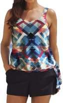 MiYang Plus Size Floral Print Blouson Plus Size Swimwear Tankini Top & Boyshort