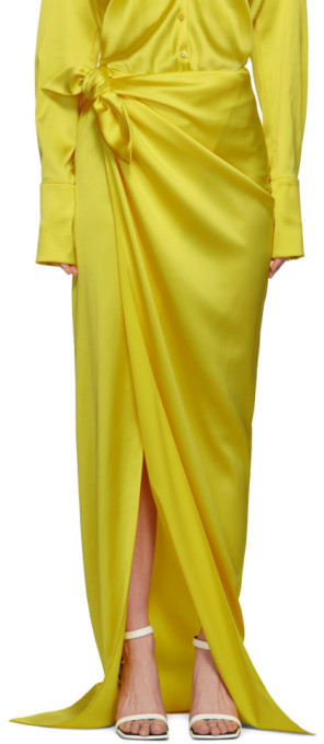 Balenciaga Yellow Satin Wrap Skirt