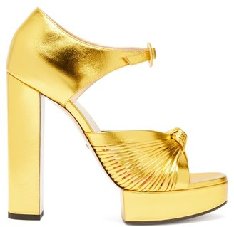 Gucci Crawford Knotted Metallic-leather Platform Sandals - Womens - Gold