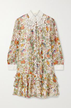 Tory Burch Tiered Floral-print Metallic Silk-blend Chiffon Mini Dress - Ivory