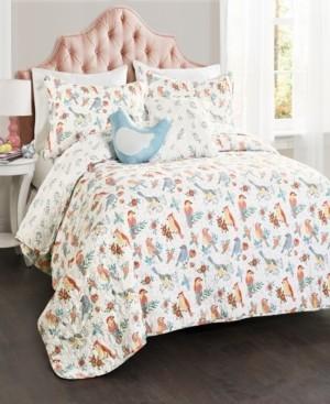 Lush Decor Chirpy Birds Reversible 5-Piece Full/Queen Quilt Set Bedding
