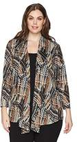 Kasper Women's Plus Size Abstract Printed Metallic 3/4 Sleeve Jacket