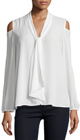Neiman Marcus Cold-Shoulder Blouse with Tie-Front, Eggshell