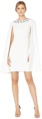 Adrianna Papell Beaded Neckline Cape Dress
